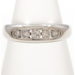 PT900 platinum ring 8 diamond 0.30 used jewelry ★★ giftwrapping for free