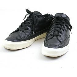 wjk double Kei Jay back zip leather low-frequency cut sneakers men black 26cm