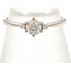 PT900 platinum ring 8 diamond 0.26 VVS2 0.02 appraisal used jewelry ★★ giftwrapping for free