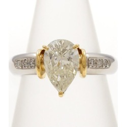 PT900 platinum K18YG ring 10 diamond 1.557 0.06 appraisal used jewelry ★★ giftwrapping for free