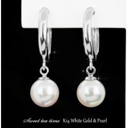 Earrings K14WG white gold pearl jewelry lady's-earrings MA213816