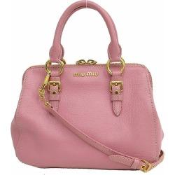 Take a miumiu (ミュウミュウ) Madras 2WAY hand long shoulder bag slant; pink leather netshop