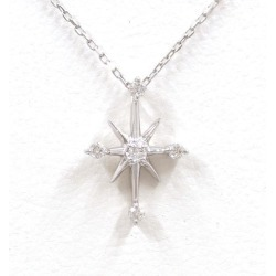 Star jewelry K18WG necklace diamond 0.04 used jewelry ★★ giftwrapping for free