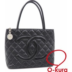 """0713"" Chanel reproduction tote bag matelasse Lady's black black caviar skin A01804 CHANEL leather leather here mark silver metal fittings hand deep-discount exemption from taxation A2175004"