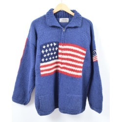 Men L /wbi5194 made in NATIVE AMERICAN Star-Spangled Banner pattern Cowichan sweater Ecuador