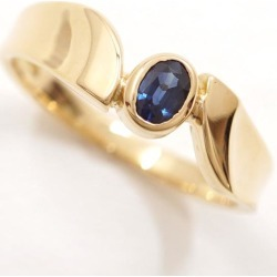 K18 18-karat gold YG yellow Goldring 10.5 sapphire used jewelry ★★ giftwrapping for free