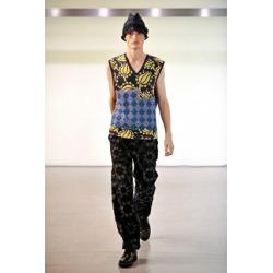Issey Miyake men ISSEY MIYAKE MEN silk blend pattern reshuffling V neck best multi-4