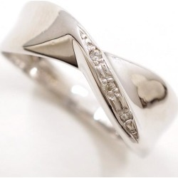 K10 10 gold WG white gold ring 12 diamond 0.02 used jewelry ★★ giftwrapping for free