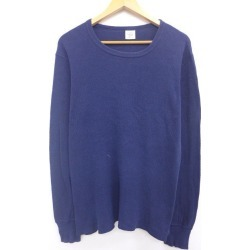 Old clothes long sleeves vintage thermal T-shirt plain fabric dark blue navy XL size used men