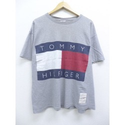 Old clothes vintage T シャツトミーヒルフィガー TOMMY HILFIGER gray marbled beef XL size used men short sleeves