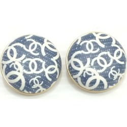 Mikunigaoka store 445017 RMB1270 made in CHANEL Chanel denim-like earrings round shape accessories here mark jewelry 02P light blue Lady's France
