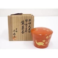 In 塗師千穂造井伊大老好桜 a pheasant lacquer work vermilion medicine device jujube [tea ceremony / tea set / tea service set / curio / tea / jujube]