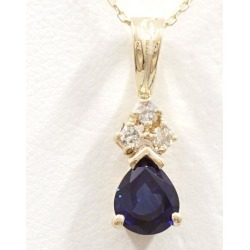 14K YG necklace sapphire diamond used jewelry ★★ giftwrapping for free