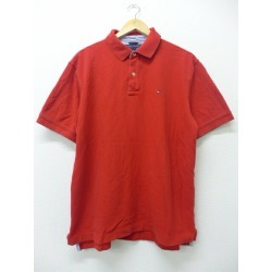 Old clothes ポロシャツトミーヒルフィガー TOMMY HILFIGER logo fawn red red XL size used men short sleeves tops Spring clothes summer clothing summer clothes casual shirt men fashion short sleeves shirt fashion for spring is casual in the spring and summer