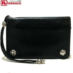 AUTHENTIC CHROME HEARTS Cross button Cross ball With strap Bifold wallet Black/SilverHardware Leather