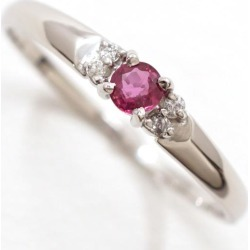 PT900 platinum ring 12 ruby diamond used jewelry ★★ giftwrapping for free
