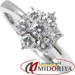 Diamond ring Pt900 flower motif diamond 0.66ct 15 platinum flower ring Lady's jewelry /63335