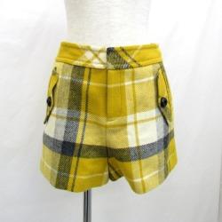 T Higashiosaka shop made in BURBERRY BLUE LABEL Burberry blue label short pants culottes yellow check E1R28-808-60 size 38 Lady's bottoms SANYO SHOKAI Japan