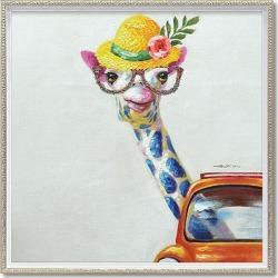 To oil paint art animal image giraffe madam (medium size) you power 63x63cm oil painting interior frame mail order Bellco mon 10/29