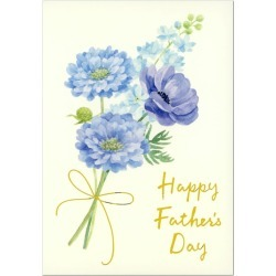 Bouquet pattern foil push S3303 Sanrio folio greeting card ちちのひ June 16 early summer pattern card of the Father's Day card watercolor blue