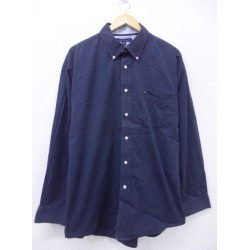 Old clothes long sleeves シャツトミーヒルフィガー TOMMY HILFIGER logo big size dark blue navy XL size used men tops