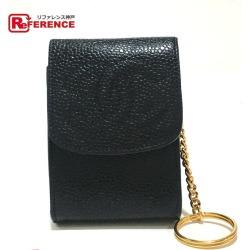 CHANEL Chanel accessory case key case CC here mark key ring caviar skin black x gold metal fittings Lady's