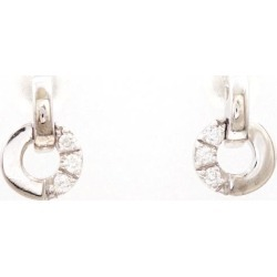 SAMISTAR-D K18WG pierced earrings diamond 0.04*2 used jewelry ★★ giftwrapping for free