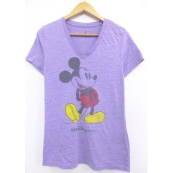 Spring clothes summer clothing summer clothes Disney DISNEY Mickey MICKEY MOUSE purple purple marbled beef in the spring and summer an old clothes Lady's T-shirt for spring I show cute casual lady's fashion fashion