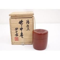 綾部經雲斎造漆仕上竹中棗 [tea ceremony / tea set / tea service set / curio / tea / jujube]