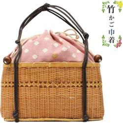 Basket drawstring purse basket bamboo bag yukata brown pink summer ten colors summer festival fireworks display