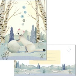 I go to the pattern in letterset winter, and 18 pieces of play Natsuko Taguchi PD-553/EV-553 (Skywarrior) frontier letter paper 2 patterns, envelope six pieces letter letter eraser stamp are snowy
