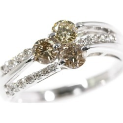 3 color diamond (brown cognac yellow) rings, ring, natural /K18WG/750-4.7g/1.00ct/ center jewel research institute /19 /#59/ white gold ■ 294605