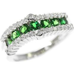 7P, グリーングロッシュラーガーネット diamond ring, ring, heat / normal processing /Pt900-8.2g/GA0.92ct/FD: 0.34ct/ center jewel research institute /14 /#54/ platinum color X green ■ 294208