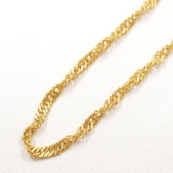 Two K24 24-karat gold YG yellow gold necklace metal approximately 11.5 g approximately 42cm Kihei Kihei double screw used jewelry ★★ giftwrapping for free
