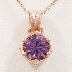 K10 10 gold PG pink gold necklace amethyst 0.75 used jewelry ★★ giftwrapping for free