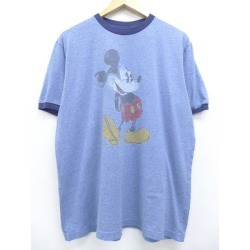 Old clothes T-shirt Disney DISNEY Mickey MICKEY MOUSE big size dark blue navy marbled beef ringer XL size used men short sleeves
