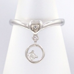 PT900 platinum ring 8 diamond 0.04 used jewelry ★★ giftwrapping for free