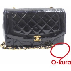 Chanel chain shoulder bag matelasse Lady's black black patent leather CHANEL shawl gold metal fittings here mark Diana deep-discount exemption from taxation A6023912