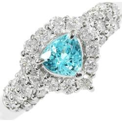 トリリアントシェイプ Paraiba tourmaline diamond ring, ring /Pt900-5.5g/PT0.43ct/FD: 0.54ct/ center jewel research institute /16 /#56/ platinum color X transparence bluish green /h191023 ■ 311737