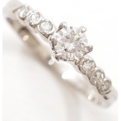 PT900 platinum ring 10 diamond 0.215 VVS2 0.08 appraisal used jewelry ★★ giftwrapping for free
