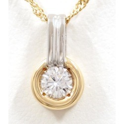 PT900 platinum K18YG necklace diamond 0.28 VS2 differentiation book used jewelry ★★ giftwrapping for free