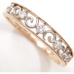K18 18-karat gold YG yellow gold WG ring 6 diamond 0.08 used jewelry ★★ giftwrapping for free