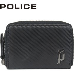 POLICE LUCENTE COIN CASE police wallet coin purse coin case men round fastener leather black black PA-70204 [7/26 Shinnyu load]