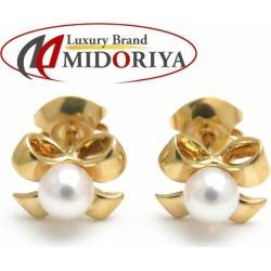 Mikimoto MIKIMOTO pierced earrings ribbon motif pearl 4 millimeters K18YG yellow gold jewelry /091104