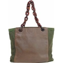 PRADA (Prada) plastic chain tote bag / shoulder bag khaki X tea brown nylon X leather netshop
