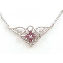 Kaoruko Mizuno K18WG purple gold necklace diamond 0.01 used jewelry ★★ giftwrapping for free