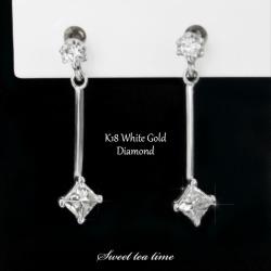 Pierced earrings K18WG white gold diamond 0.20ct jewelry Lady's pierced earrings ISD