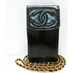 Take Chanel CHANEL enamel chain shoulder porch carrying case here mark patent leather black slant; a bag ★★