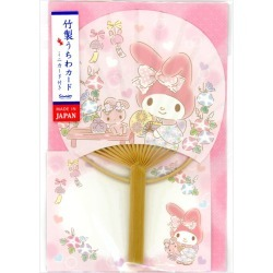 Round fan card Mai melody morning glory and wind-bell S4238 Sanrio pattern in greeting card multi-purpose summer in summer made of bamboo are card きてぃはなび in card summer in the multipurpose summer when it is genuine bamboo