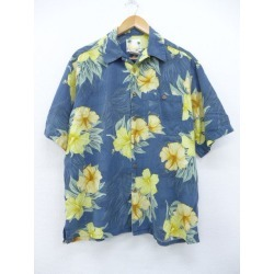 Old clothes Hawaii Ann shirt flower silk big size dark blue navy large size used men short sleeves aloha tops